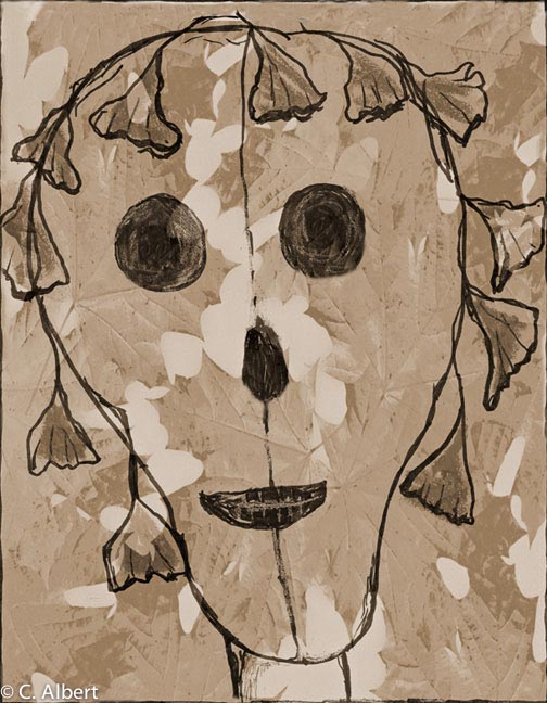 Face of Winter Foliage ink drawing / digital photomontage